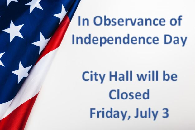 City Hall Closed on July 3rd