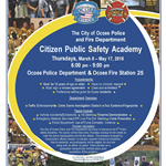 6th Citizen Public Safety Academy Starting March 2018